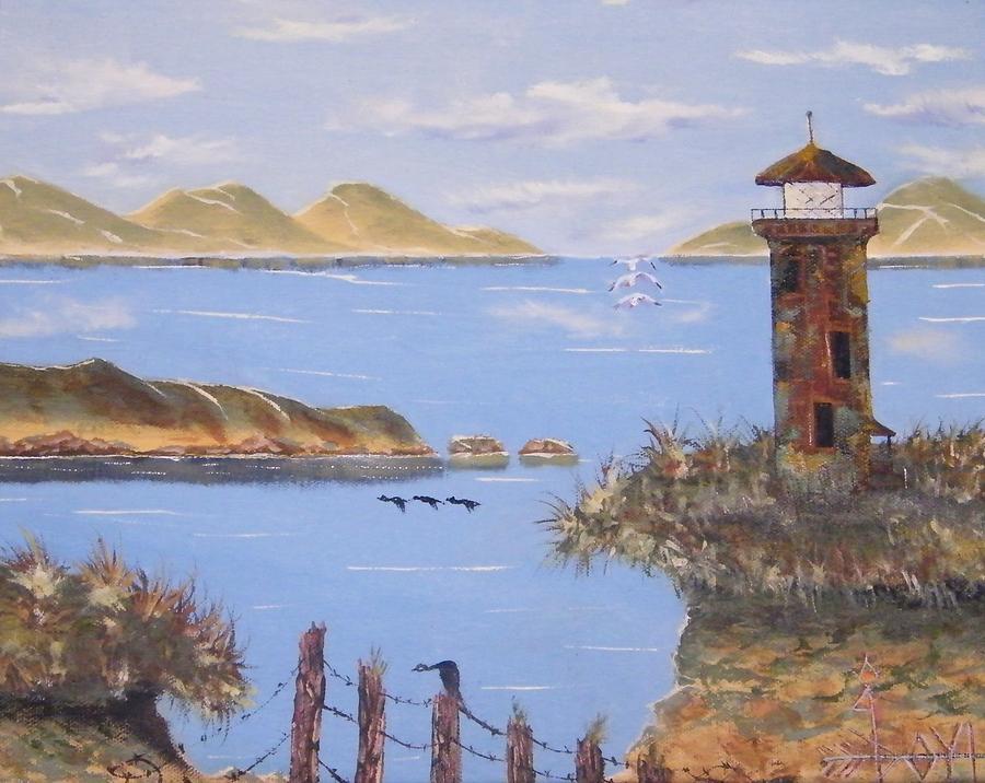 Abandoned Lighthouse Painting by Larry Doyle