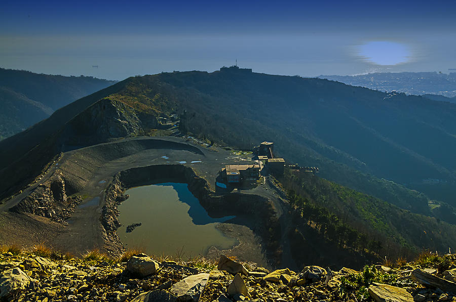 Abandoned Quarry Photograph - Abandoned Quarry With Lake Sea And Genoa Panorama by Enrico Pelos