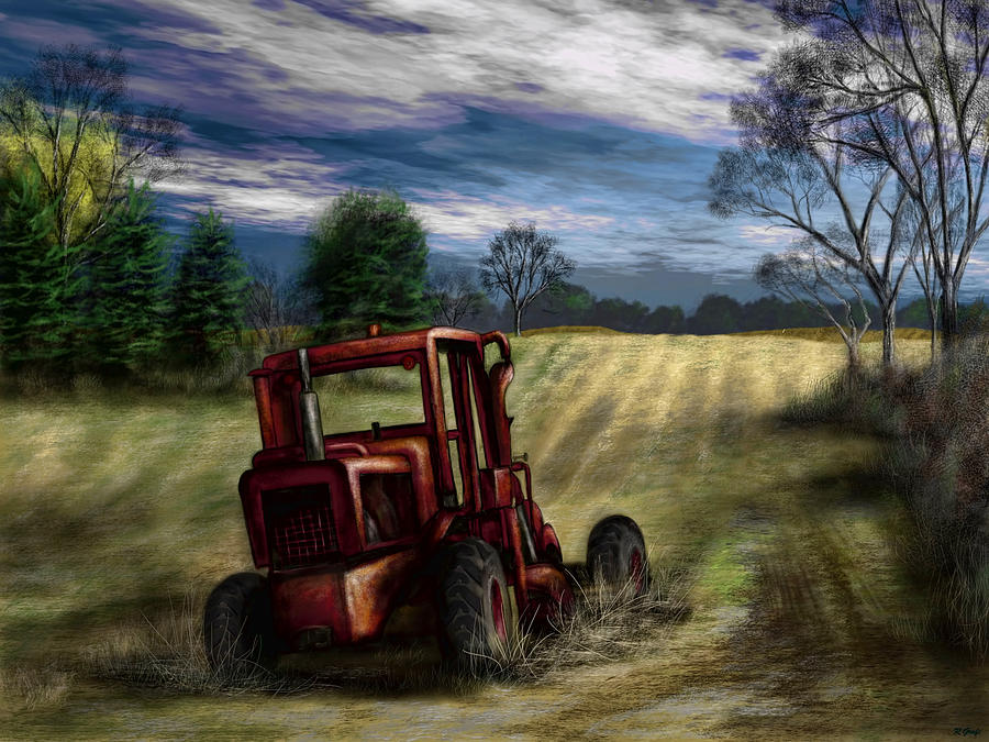 Agriculture Painting - Abandoned Tractor by Ron Grafe