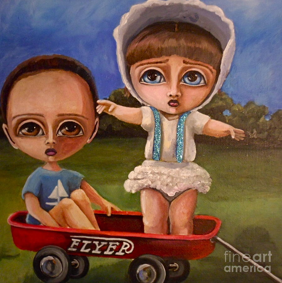 Big Eyes Painting - Abandonment  by Bonnie Diaz