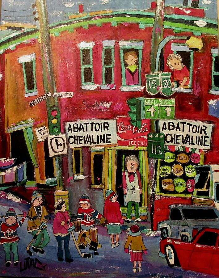 Bridge Street Painting - Abattoir Chevaline In The Point by Michael Litvack