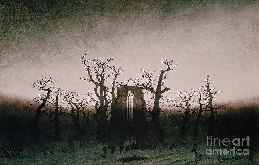 Abbey Painting - Abbey In The Oakwood by Caspar David Friedrich