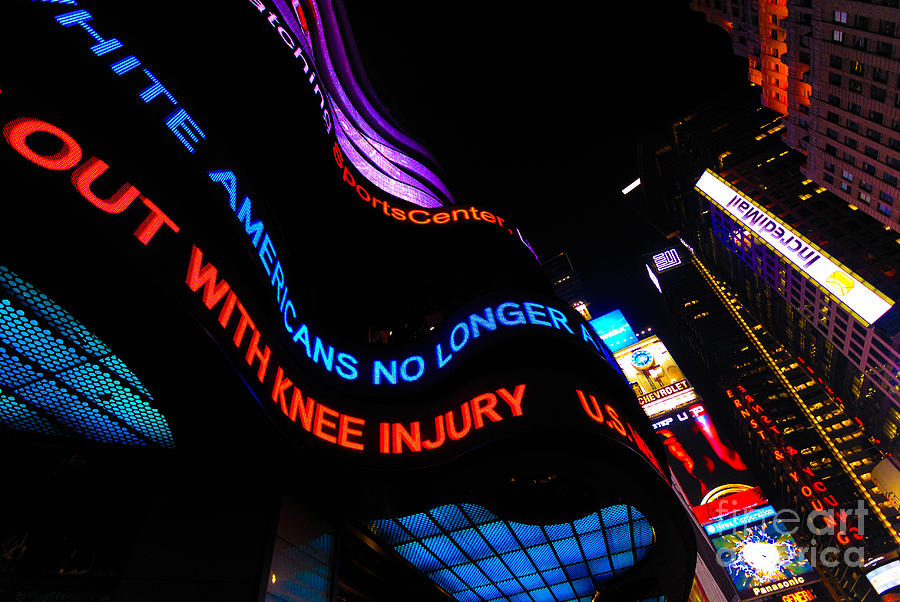 Abc Photograph - Abc News Scrolling Marquee In Times Square New York City by Amy Cicconi