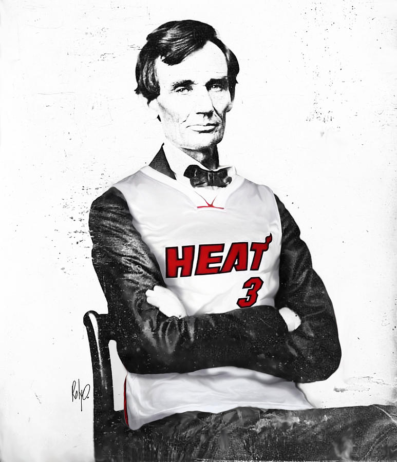 Abe Lincoln Artwork Drawing - Abe Lincoln In A Dwyane Wade Jersey by Roly Orihuela