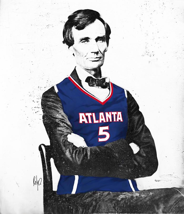Abe Lincoln In A Josh Smith Atlanta Hawks Jersey Digital Art by Roly O