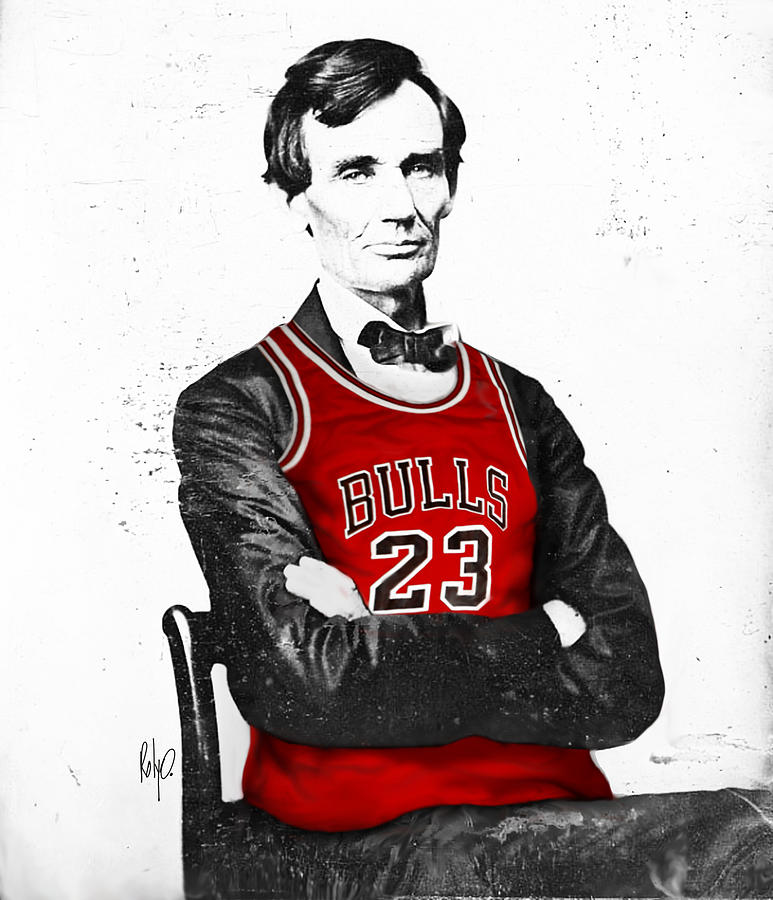 Michael Jordan Digital Art - Abe Lincoln In A Michael Jordan Chicago Bulls Jersey by Roly O