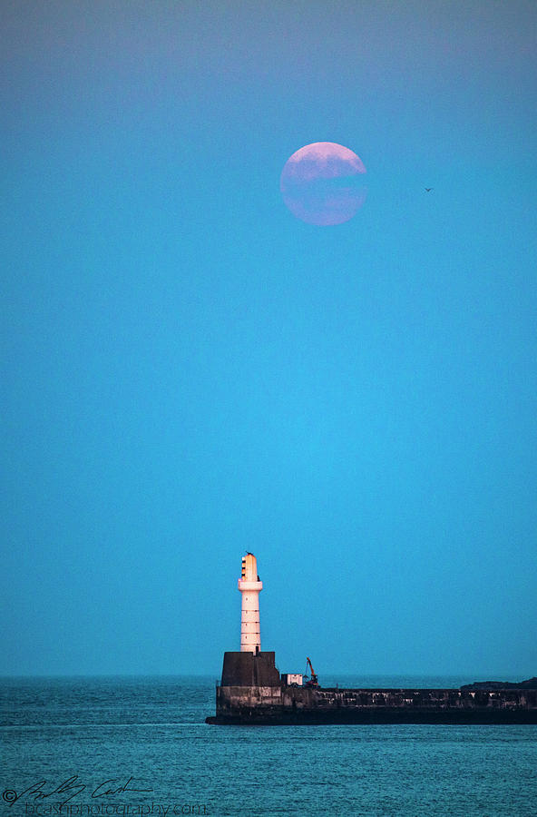 Aberdeen Lighthouse and Full Buck Moon by Beverly Cash