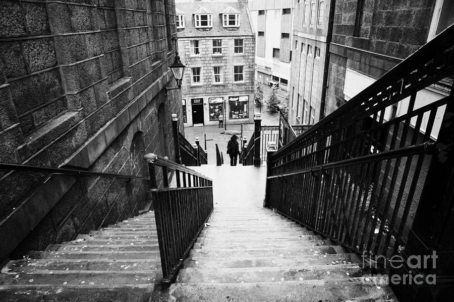 Aberdeen Photograph - Aberdeen Union Street Back Wynd Stairs Scotland Uk by Joe Fox
