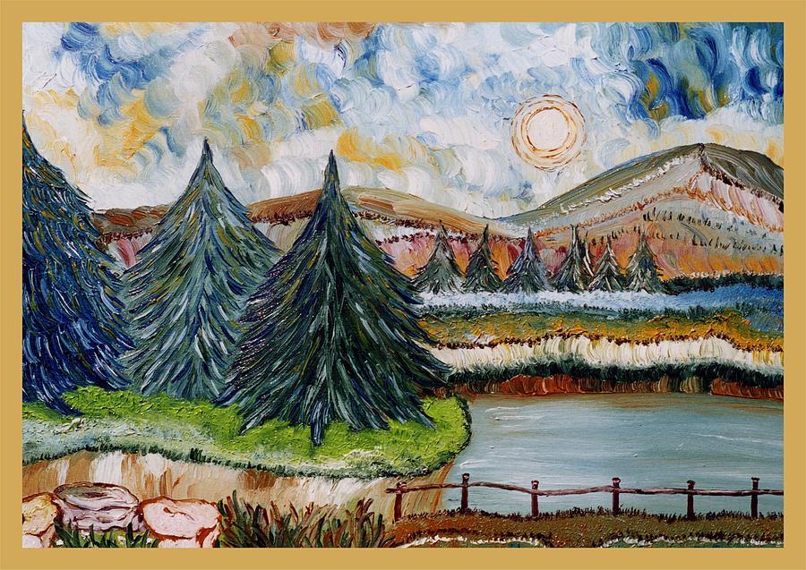 Landscape Painting - Abeti Sul Lago by Carla Marino