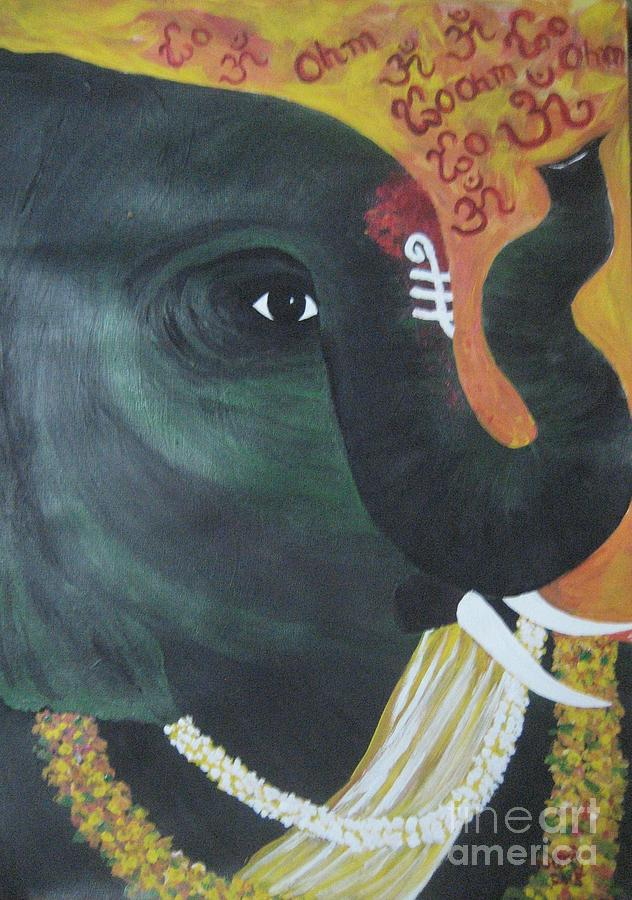 Abhaya Ganapathi Painting by Usha Rai