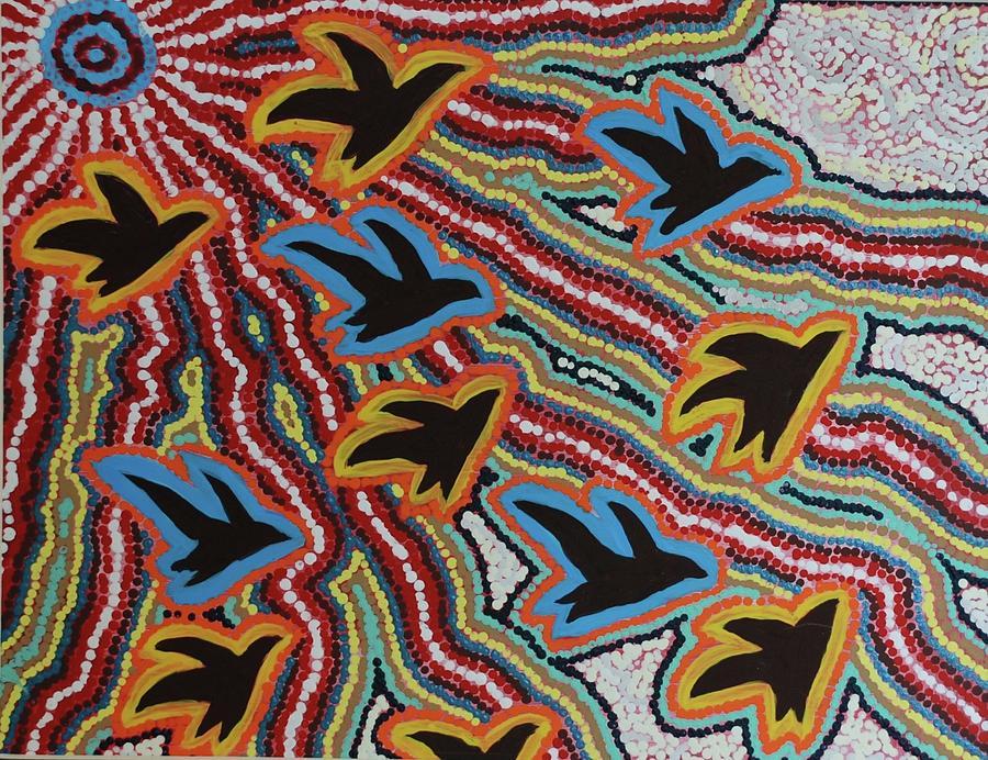 Aboriginal Birds Painting By Emily White