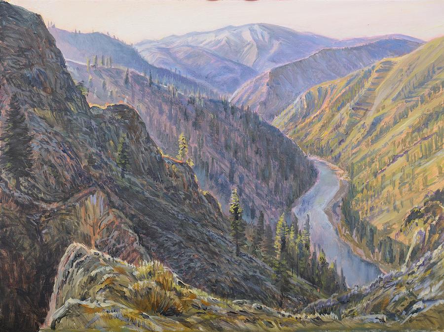 Above Devils Peak Rapids Painting by Steve Spencer