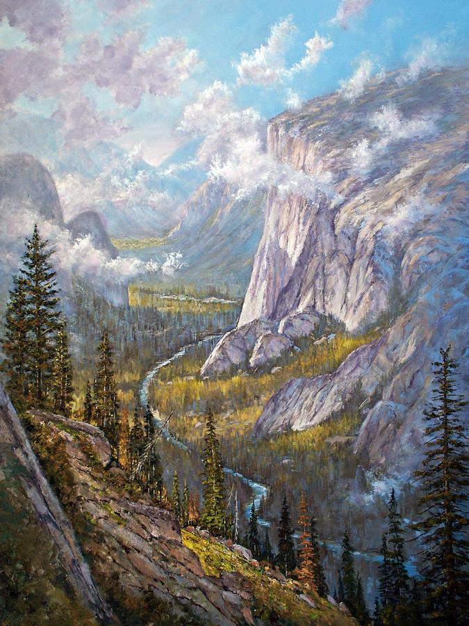 Yosemite Painting - Above El Capitan by Donald Neff