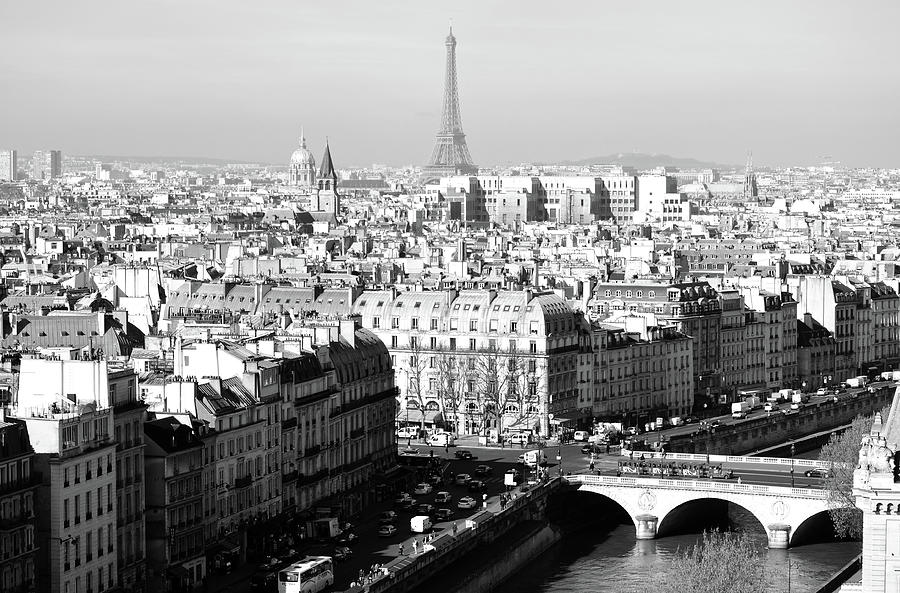 Above Paris France Rooftops With Pont Au Change Les Invalides Dome And Eiffel Tower Black And White