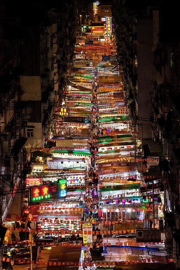Hong Kong Photograph - Above Temple Street Night Market by Luke Finch