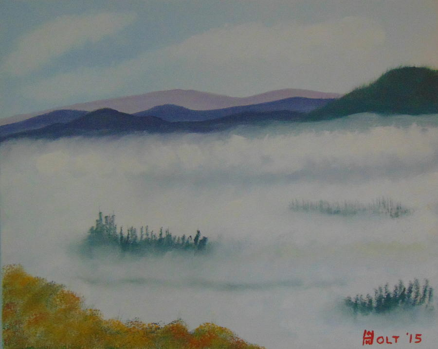 Bob Ross Style Painting - Above The Clouds by Alan K Holt