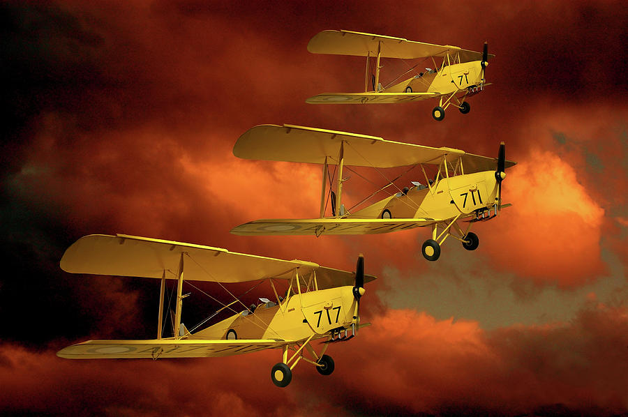Bi Plane Photograph - Above The Red Skys by Steven Agius