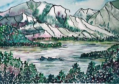 Alberta Painting - Abraham Lake View by Angeliqua  M