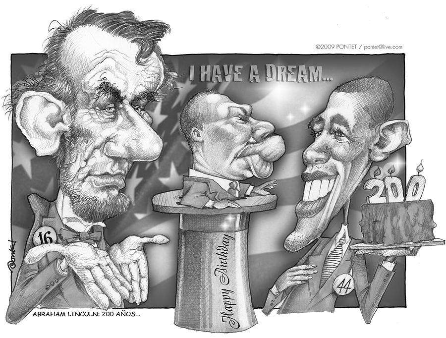People Drawing - Abraham Lincoln 200 Years by Caricatures By PONTET