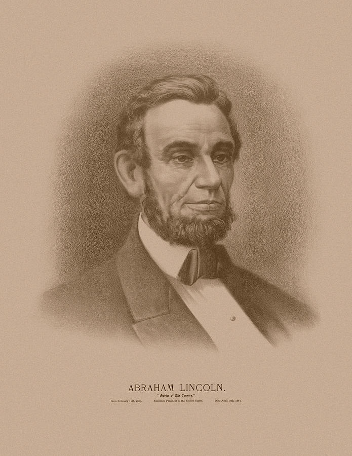 Abraham Lincoln Drawing - Abraham Lincoln - Savior Of His Country by War Is Hell Store