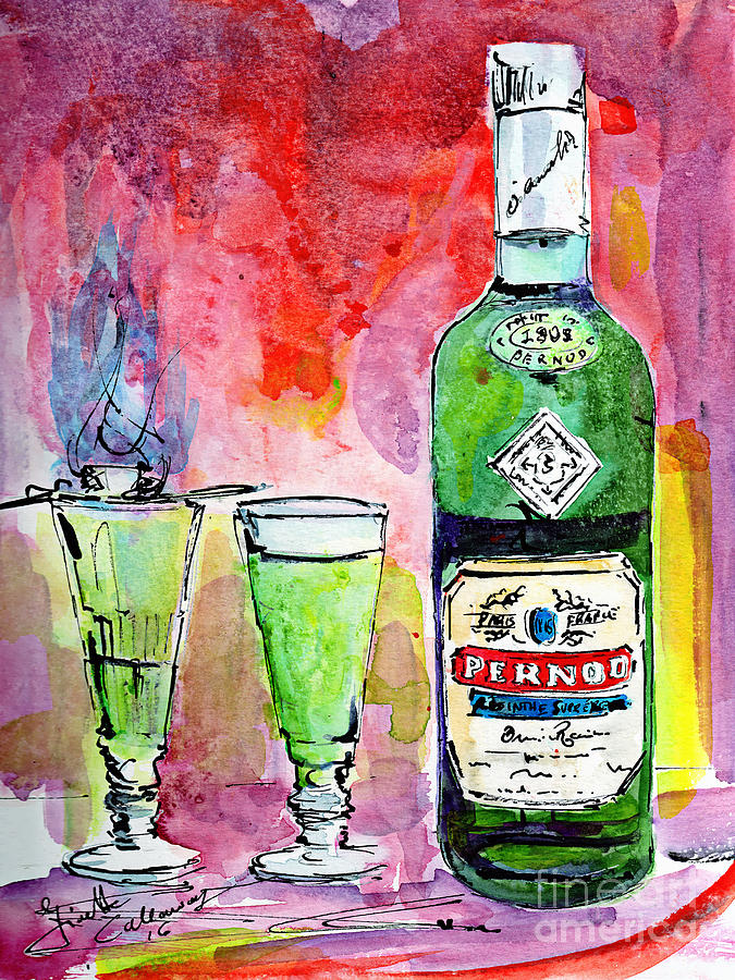 Absinthe Bottle And Glasses Watercolor By Ginette Painting by Ginette Callaway