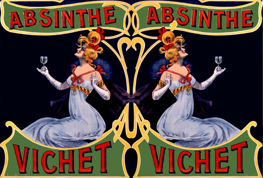 Vintage Digital Art - Absinthe Lady Ad by Marianne Dow