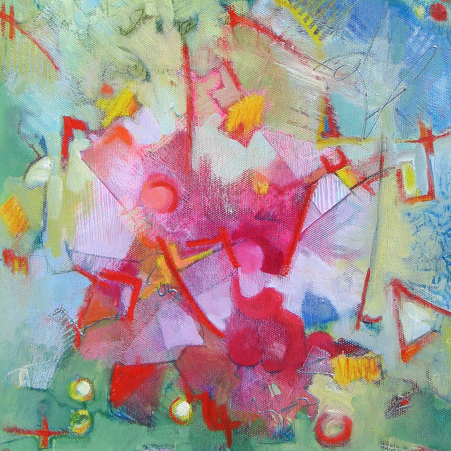 Abstract Painting - Abstract 2 With Inscribed Red by Susanne Clark