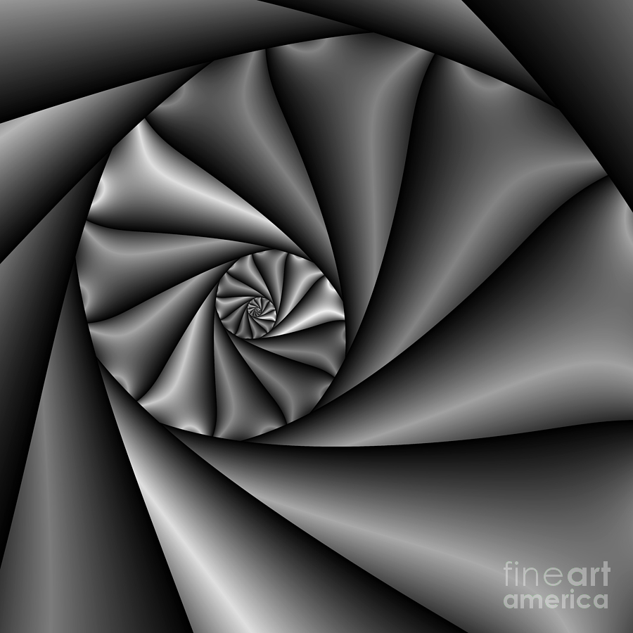 Mathematical Digital Art - Abstract 222 Bw by Rolf Bertram