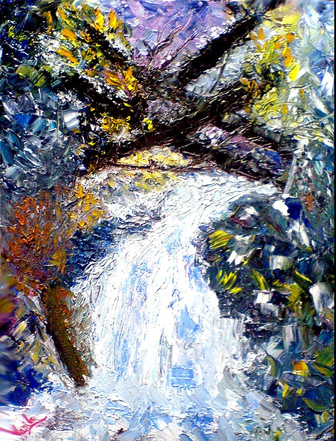 Waterfall Painting - Abstract by Anila Choudary
