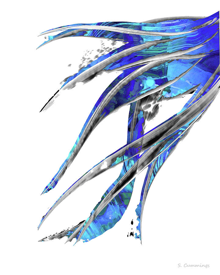 Abstract Art Blue and White - Flowing 5 - Sharon Cummings by Sharon Cummings