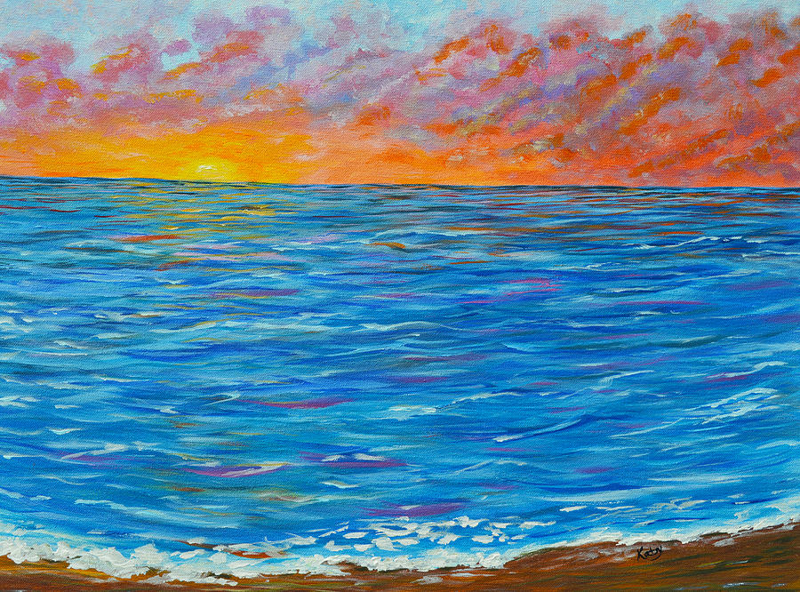 abstract art flaming ocean painting by kathy symonds