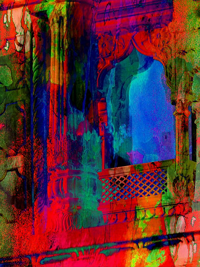 Abstract Art Funky Pink Blue Window Exotic Travel India 1f