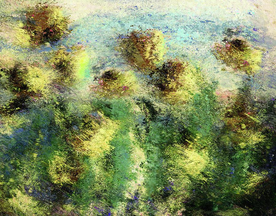 Green Abstract Painting - Abstract Art Meditating On Van Gogh by Georgiana Romanovna