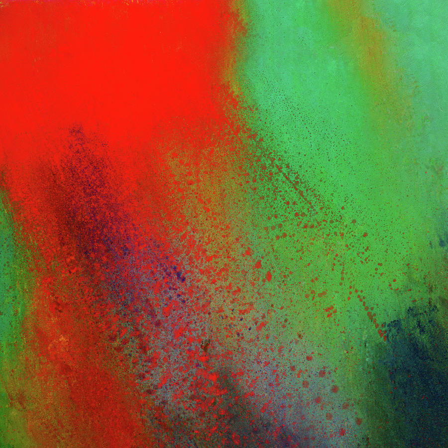 Red Abstract Painting - Abstract Art Red Compliments Green by Georgiana Romanovna