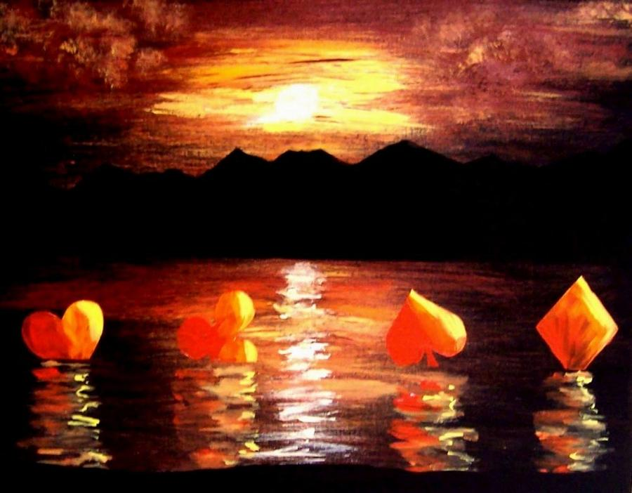 Las Vegas Painting - Abstract Arts Floating Suits Poker Art Decor by Teo Alfonso