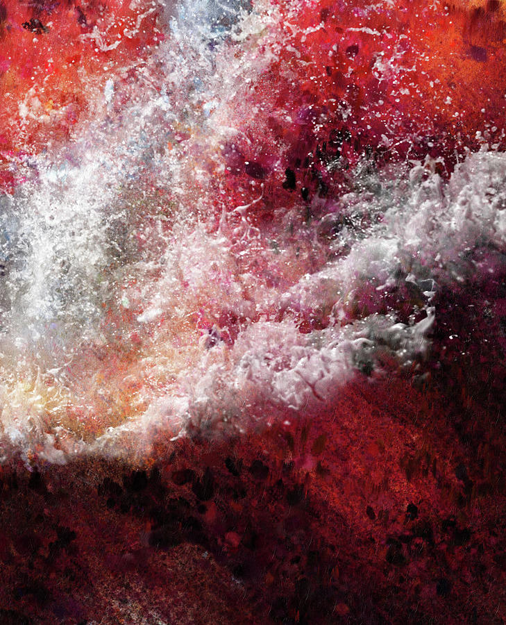 Abstract Artwork Fury Of The Red Seas by Georgiana Romanovna