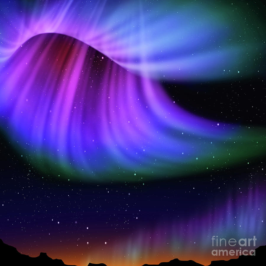 Abstract Digital Art - Abstract Aurora  by Atiketta Sangasaeng