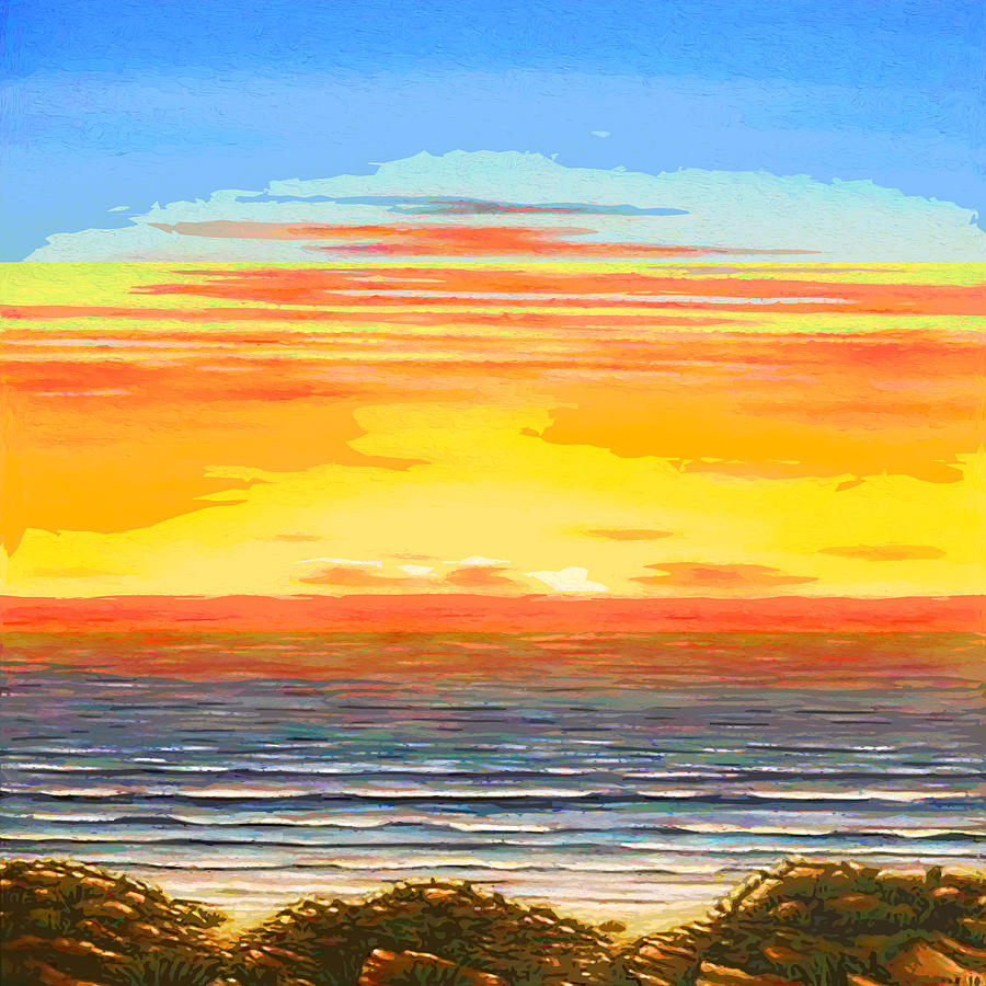 abstrack: Abstract Ocean Sunset Painting