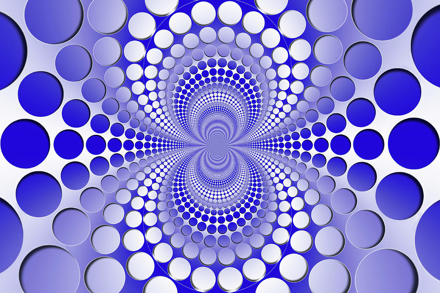 Abstract Digital Art - Abstract Blue And White Pattern by Vladimir Sergeev
