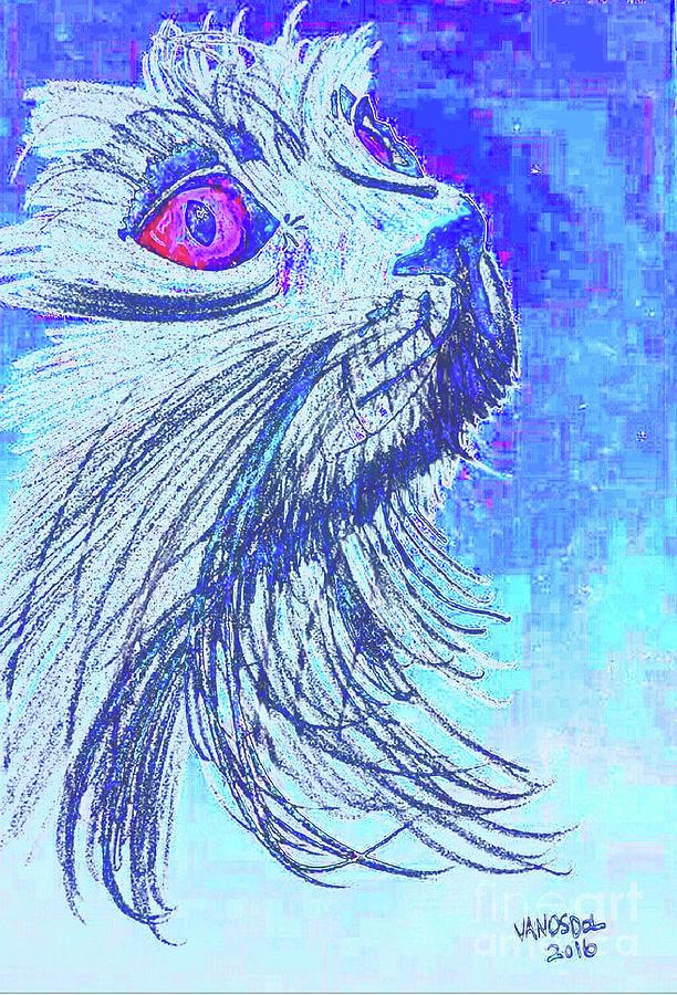 Abstract Digital Art - Abstract Blue Cat by Scott D Van Osdol