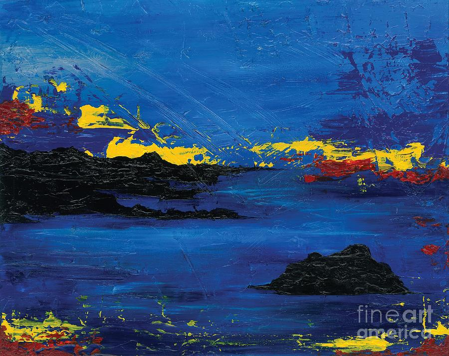 Abstract Painting - Abstract Blue Sea by Laura Charlesworth