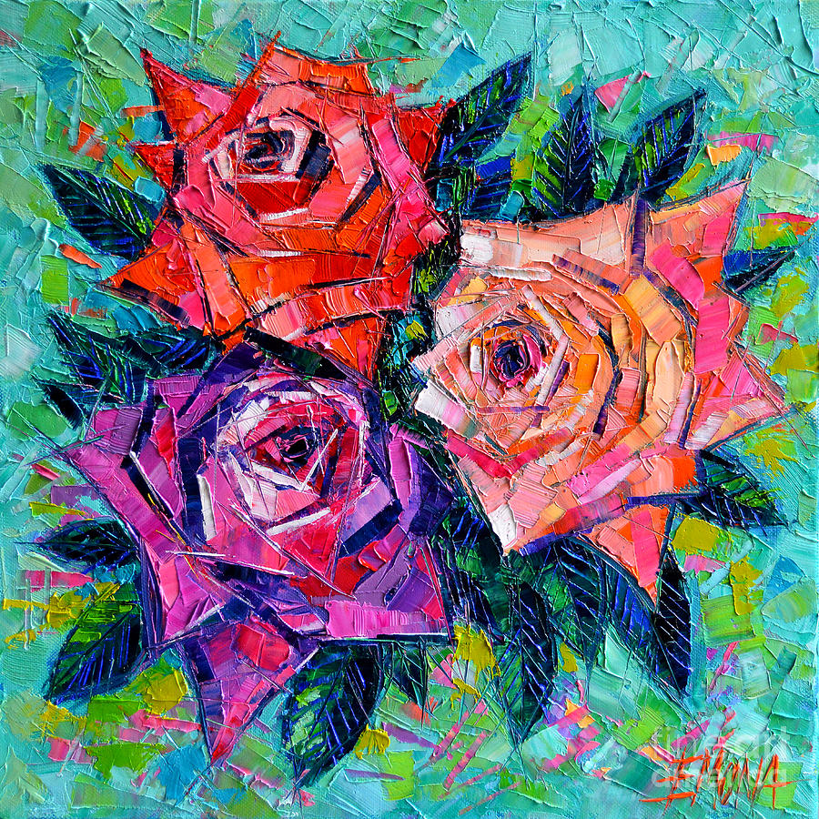 Rose Painting - Abstract Bouquet Of Roses by Mona Edulesco
