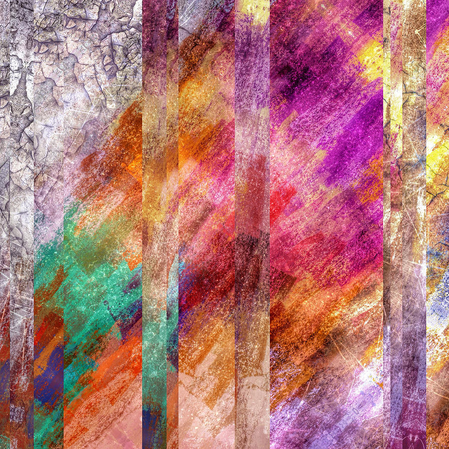 Brandi Fitzgerald Digital Art - Abstract Bright Colors And Bars by Brandi Fitzgerald