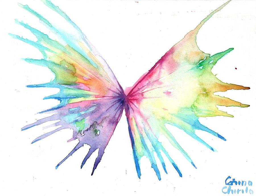 Abstract Butterfly Painting - Abstract butterfly or dual structure with wings by Chirila Corina