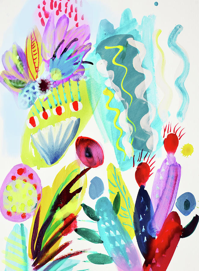 Abstract Painting - Abstract Cactus And Flowers by Amara Dacer
