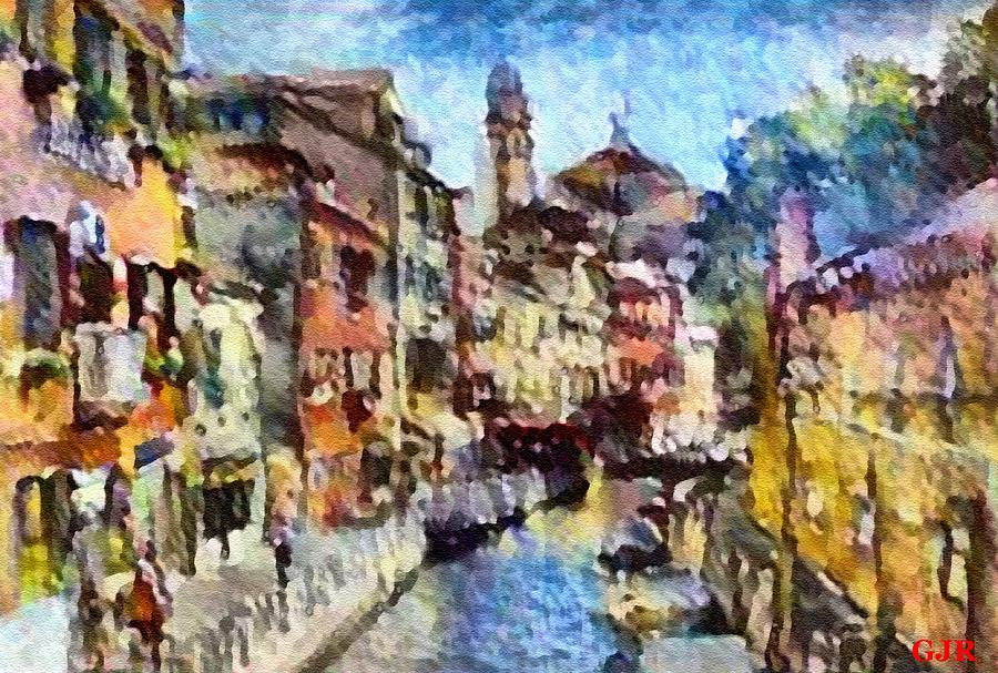 Abstract Digital Art - Abstract Canal Scene In Venice L B by Gert J Rheeders