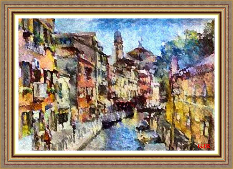 Abstract Digital Art - Abstract Canal Scene In Venice L A S With Decorative Ornate Printed Frame. by Gert J Rheeders