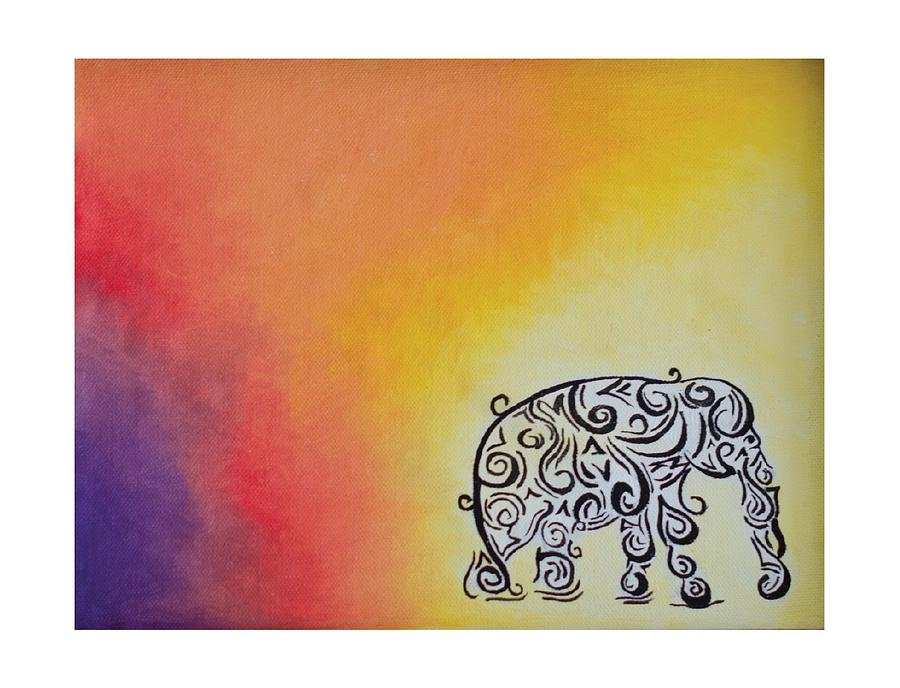 Abstract Canvas Wall Art Of Elephant In Vibrant Colored Background Perfect For Table Or Wall Decor