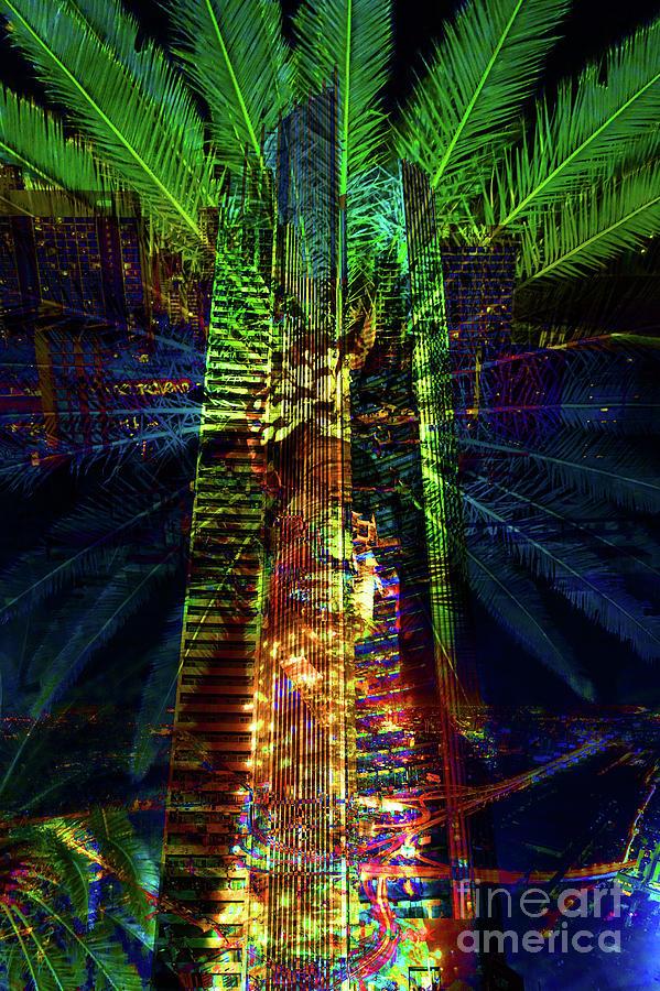 City Mixed Media - Abstract City In Green by Barbara Dudzinska