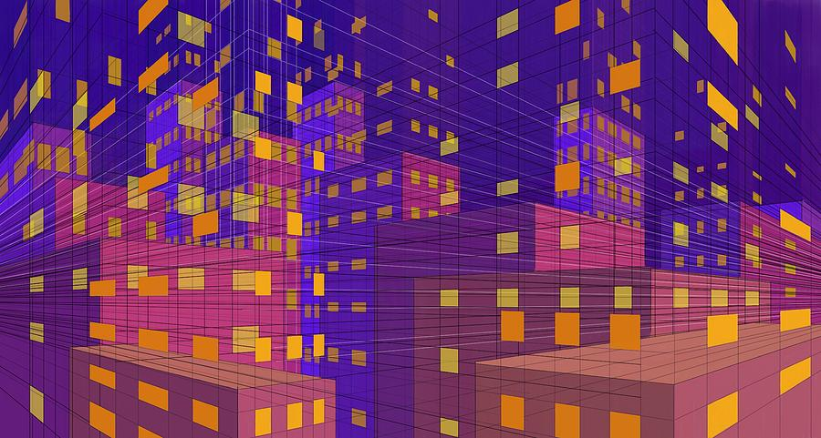 abstract city violet yellow 2 digital art by phil vance